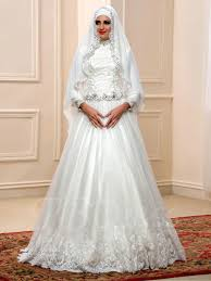 Muslim Wedding Dresses Arabic Sequins Beaded Lace High Neck Muslim Wedding Dress With