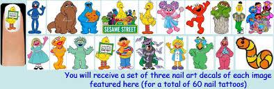 60x sesame street or abby or elmo or cookie or oscar nail art