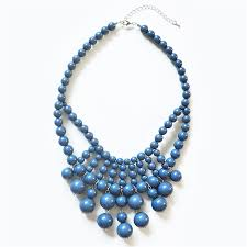 blue bead necklace images Retro bauble necklace blue statement necklace bib with drop beads jpg