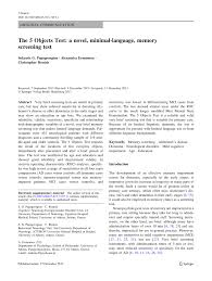 the 5 objects test a novel minimal language memory screening
