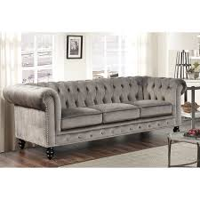 gray chesterfield sofa abbyson grand chesterfield grey velvet sofa free shipping today