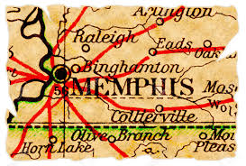 Tennessee On A Map by Memphis Tennessee On An Old Torn Map From 1949 Isolated Part