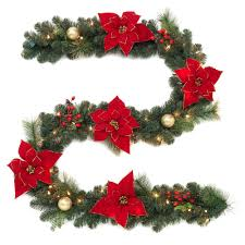 home accents 9 ft pre lit artificial garland with