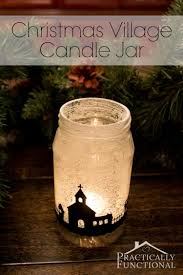 snowy christmas village silhouette candle jars candle jars