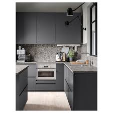 grey kitchen cupboards with black worktop ekbacken worktop grey marble effect laminate 188x2 8 cm