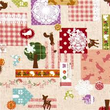 beautiful animal linen fabric with ornaments from japan animal