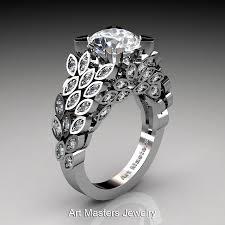 nature inspired engagement rings masters renoir 14k white gold 3 0 ct white sapphire