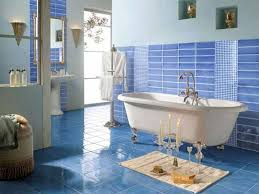 country blue bathroom decor white tiles of standing shower room