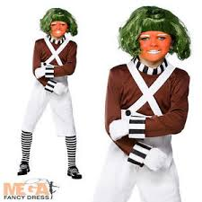 Oompa Loompa Halloween Costumes Factory Worker Wig Book Character Boys Fancy Dress Oompa Loompa