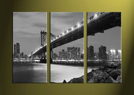 3 piece grey canvas city black and white artwork