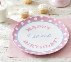 personalized plate pink happy birthday personalized plate pottery barn kids