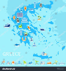 Map Greece by Greece Map Icons Greek Symbols Travel Stock Vector 131339798