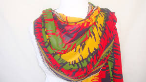 multi color scarf yellow red green blue color shades scarf