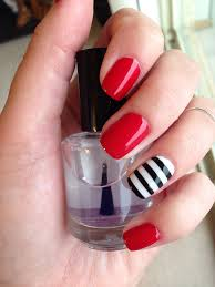 nautical red nails with black and white stripe accent nail