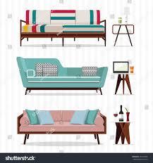 living room furniture design concept set stock vector 437273956