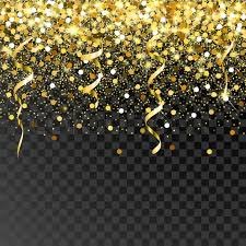 glitter backdrop falling gold serpentine and confetti on a black background