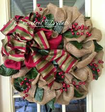 burlap christmas wreath created twists burlap christmas wreaths with magnolia leaves and