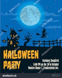 Halloween Monster House Halloween Party Poster Template Haunted House Stock Vector