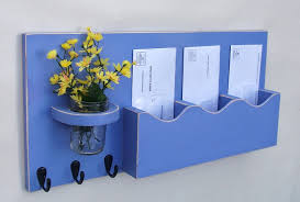 cute diy wood wall mail organizer with flower vase and key holder