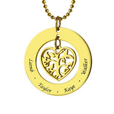 gold mother necklace images Heart family tree name necklace gold color engraved kids name jpg