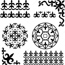 set kazakh asian ornaments stock vector happyluckygirl 66464907