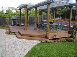 Patios And Decks Designs Here S A Large Floating Deck With Two Pergolas Covering It