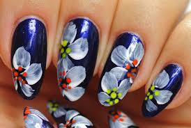 nail art simple design white flowers youtube