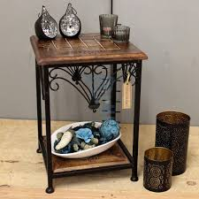 Small Side Table by Small Side Table Indian Mango Wood And Metal Frame Hand Carved End