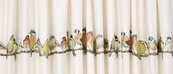garden birds pencil pleat ready made curtains
