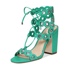 women chic open toe chunky heel lace up hollow out ankle strap sandals