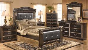 Ashley Signature Furniture Bedroom Sets by Creek 4 Piece Mansion Bedroom Set In Dark Brown