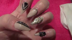 stiletto acrylic nails and black nail art how to acrylic