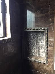 shower niche dark bronze 18x18 emperador dark custom cut