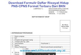 form daftar riwayat hidup pdf contoh formulir daftar riwayat hidup pns cpns format terbaru dari