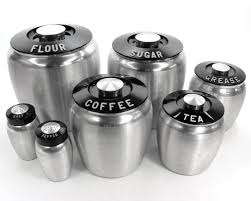 kitchen canister sets vintage vintage aluminum kromex deco canisters set flour sugar coffee