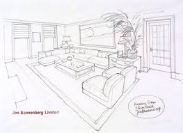 12 drawing of living room point perspective open room 002 living