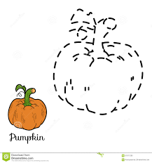 connect the dots game fruits and vegetables pumpkin stock