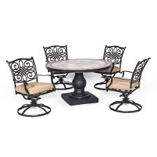 Swivel Patio Dining Chairs by Monaco 5 Piece Outdoor Dining Set With Swivel Rockers Hanover