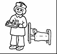 excellent black and white cartoon nurse with nurse coloring pages