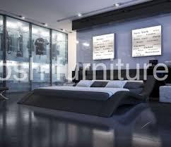 Black Leather Platform Bed Monaco King Size Modern Style Leather Platform Bed Black Ebay