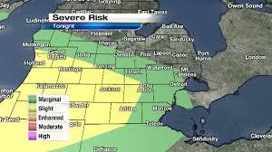 Owosso Mi Map Se Michigan Under Slight And Marginal Severe Weather Risk Tonight