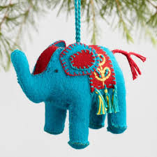 fabric indian elephant ornaments set of 4 world market