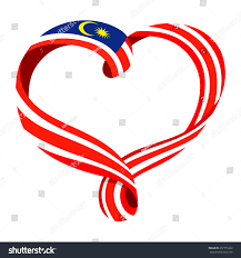 Malaysai Flag Malaysia Flag Ribbonshaped Heart Symbol Love Stock Vector