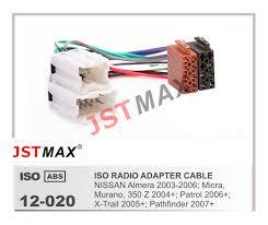 jstmax car iso radio plug for nissan almera micra murano 350z