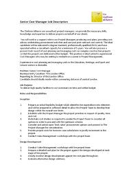 job description construction cost manager consultant project