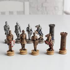 medieval times armored knights painted resin chess pieces