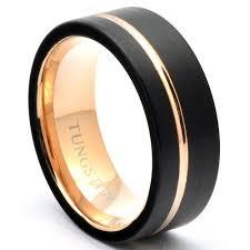 tungsten rings gold images Black tungsten ring offset rose gold stripe wedding band jpg