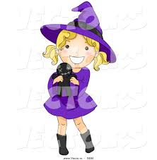 vector of a happy halloween cartoon witch holding a voodoo