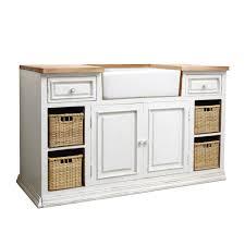 Mango Wood Kitchen Sink Unit In White W Cm Eleonore Maisons - Sink units kitchen