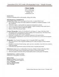 Resume For Photographer Sample Resume For Photography Internship Augustais